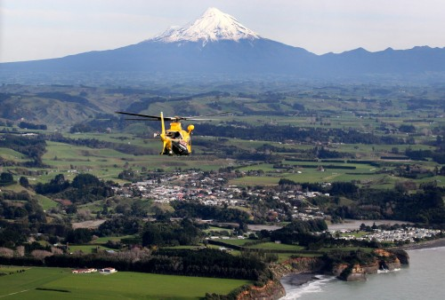080714 NEWS Andy Jackson / Taranaki Daily News. Aerial Photos, Generic photos. Taranaki Rescue Helicopter, Mt Taranaki, Urenui.